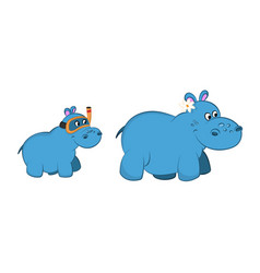 Animals of zoo hippo family in cartoon style vector