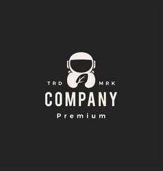 Astronaut leaf hipster vintage logo icon vector