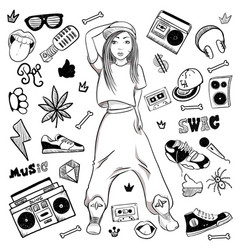 athletic hip hop girl with rap doodle elements in vector image