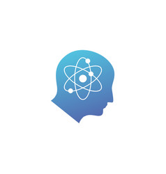 atom human head science mind think logo icon vector image