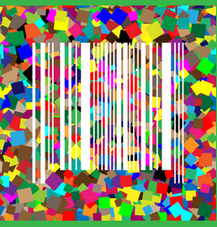 Bar code sign white icon on colorful vector