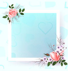 Beautiful square frame with pink roses and pearls vector
