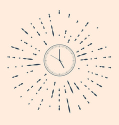 Black clock icon isolated on beige background vector