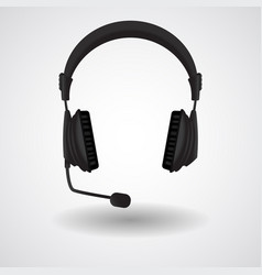 Black headphones with mic vector