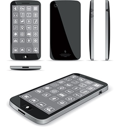 Black Smart Phone 3D and Conventional Views vector
