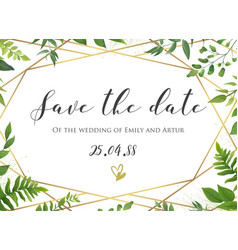 Botanical wedding floral save the date invite vector