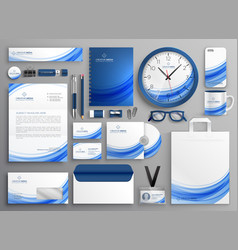 Brand identity business stationery set in blue vector