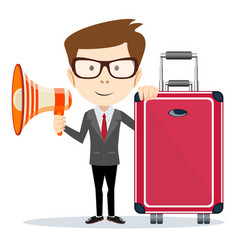 businessman with a megaphone and suitcase with vector image