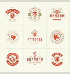 butcher shop logos set good vector image