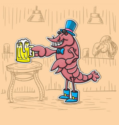 cancer character is with a beer in his hat vector image