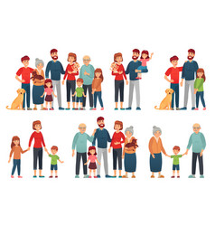 cartoon family portraits happy parents and vector image
