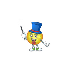 Character magician with yellow christmas ball vector