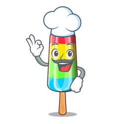 chef character beverage colorful ice cream stick vector image