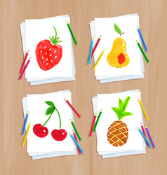 child drawing fruit doodles vector image