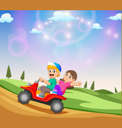 Children are riding atv vector