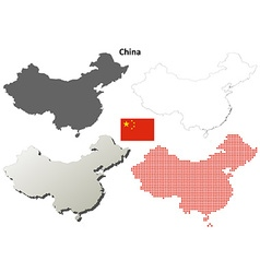 China outline map set vector