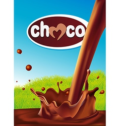 Chocolate design with pouring splash of chocolate vector