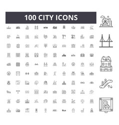 city line icons signs set outline vector image
