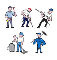 Cleaner cartoon set vector