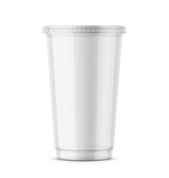 Clear disposable plastic cup with lid vector