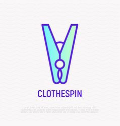 clothespin thin line icon vector image