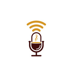 coffee podcast logo icon design vector image