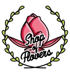 Color vintage flower shop emblem vector
