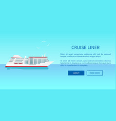 Cruise liner web page design in travelling concept vector