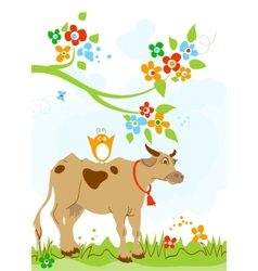 cute cow and bird friendship vector image