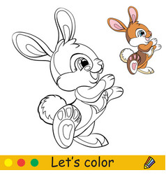 Cute standing rabbit coloring with colorful vector