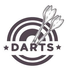 darts game two missiles throwers on a dartboard vector image