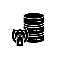 data security black icon sign on isolated vector image