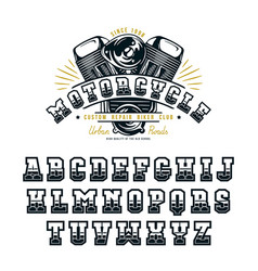 decorative serif font in biker style vector image