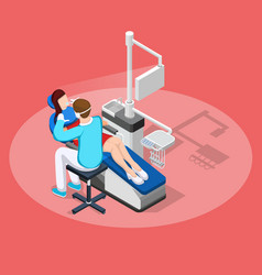 Dental stopping isometric composition vector