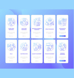 Disability insurance onboarding mobile app page vector