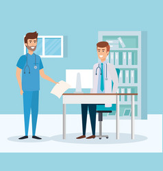 Doctor and practitioner in consulting room vector