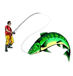 Fisherman catches fish design vector
