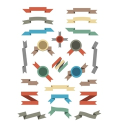 flat color ribbons and badges set vector image