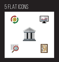 Flat exchequer set of bank interchange counter vector