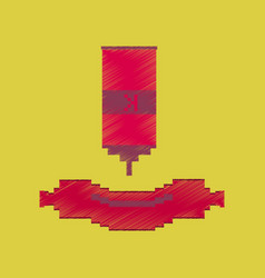flat shading style icon pixel sausage with ketchup vector image