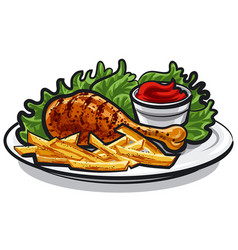 Fried chicken leg vector