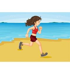 Girl running on beach vector