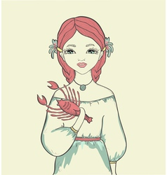 Girl with a fish Astrological sign is Cancer vector