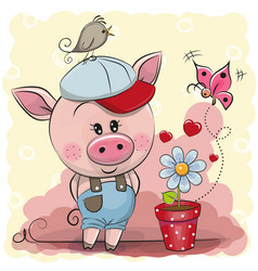 Greeting card cute pig with flower vector