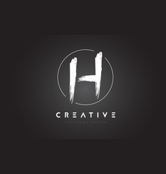 h brush letter logo design artistic handwritten vector image