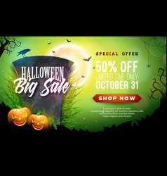 halloween sale banner with vector image