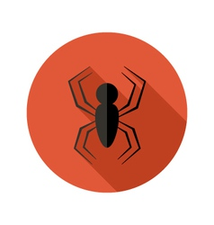 Halloween Spider flat circle icon over red vector