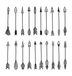 hand drawn vintage arrow set artwork element vector image