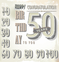 Happy birthday retro sign collection vector image