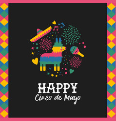 Happy cinco de mayo cute mexican pinata card vector